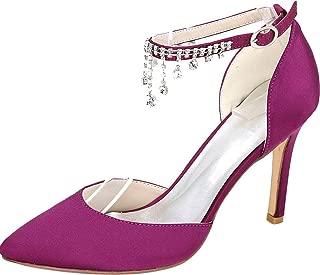 Vimedea Womens Pointy Toe D-Orsay Ankle Straps Pumps Heeled Dress Bride Court 0608-22L