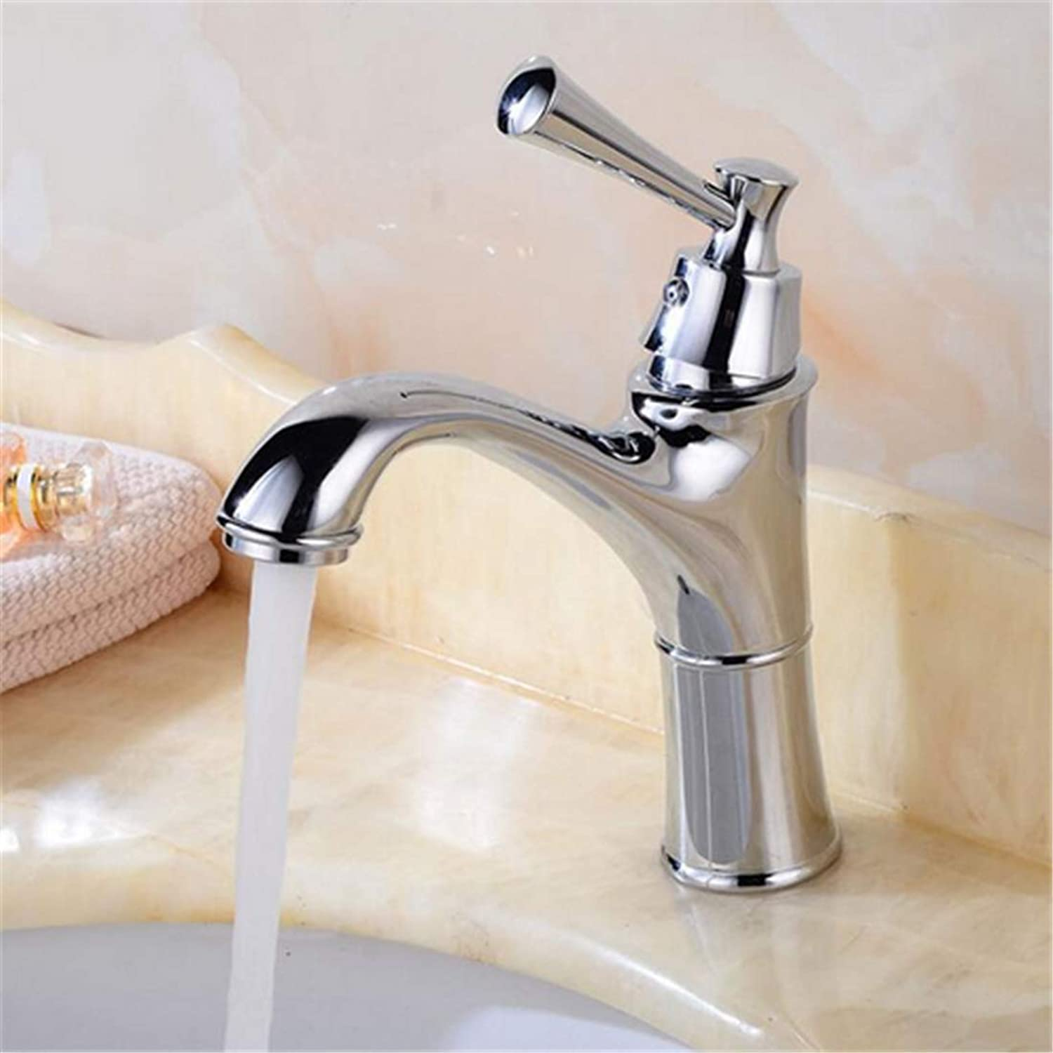 Retro Hot and Cold Faucet Retrowhole Brass Chrome Brass Basin Faucet Art Basin Bathroom Antique Water Tap