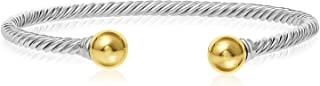 Solid 925 Twisted Black Antique Finish Sterling Silver and 14k Solid Gold 2-Ball Cuff Bracelet