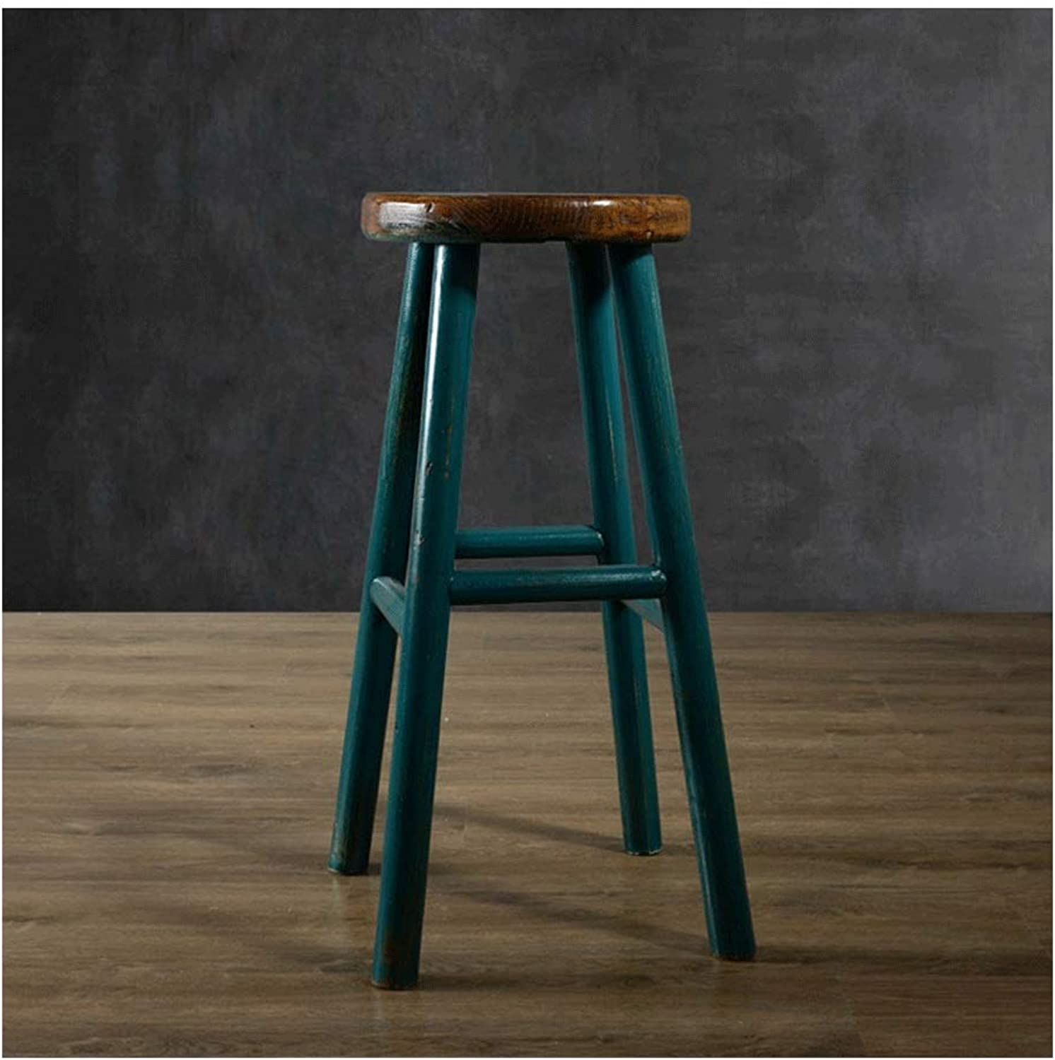 American Retro Coffee Shop Chair, Wooden Paint Life Bar Stool 0522BAR (color   Green)
