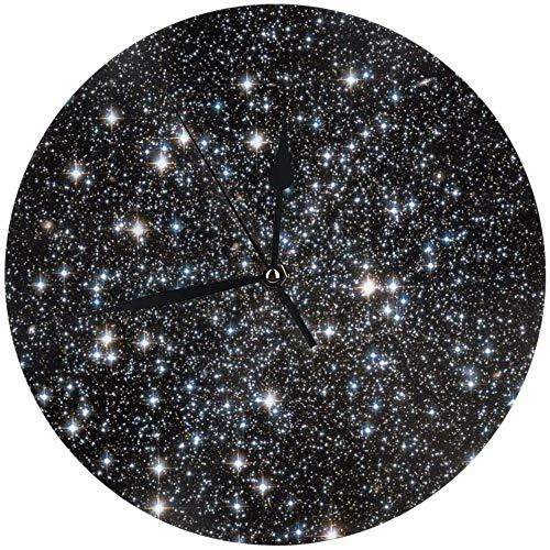 angwenkuanku Glitzer-Galaxie-Wanduhr für Zuhause, Büro, Schule, Deko, 24,9 cm, batteriebetrieben