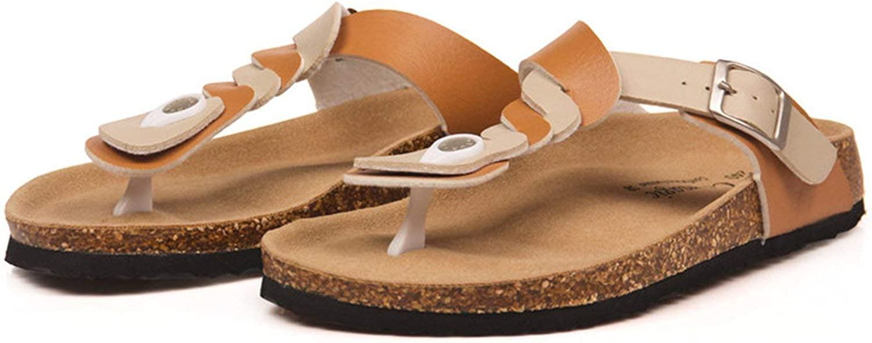 ALWAYS ME Cork Flip Flops Slippers Flat Women Summer Casual Buckle Patchwork Slides Slipper shoes