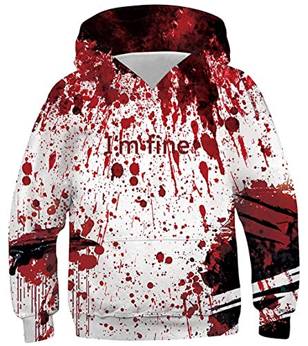 Unisex Pullover Hoodies Novelty Zombie Bloody I'm Fine Funny Humorous Monster Scratch Bite Wound 3D Digital Print Hooded Sweatshirt