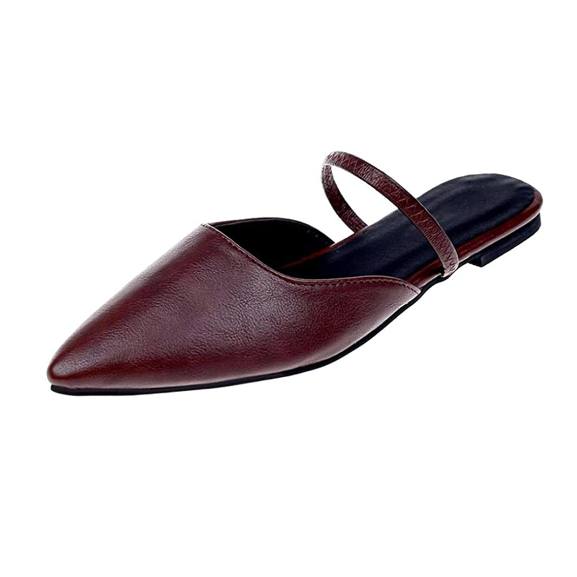 DENER Women Ladies Girls Flat Shoes Mules,Open Back Slingback Slip on Pointed Toe Wide Width Comfortable Casual Shoes