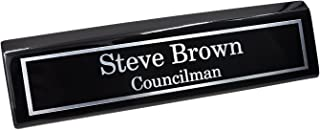 Custom Desk Name Plate   Silver Aluminum Plate on Black Wedge with Piano Finish   Custom Name Wedge   Personalized Black Desk Wedge