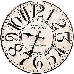 Round White Railway Decorative Clock With Black Numbers 13 x 13 inches Quartz movement