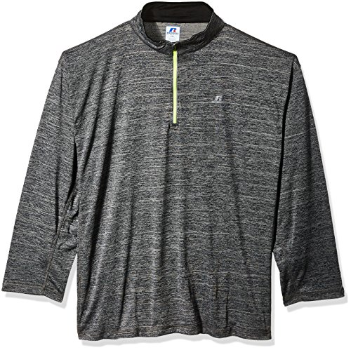 Russell Athletic Men's Big and Tall Ls 1/4 Streak Poly Jersey W/Reflective Trim, Black, 2X
