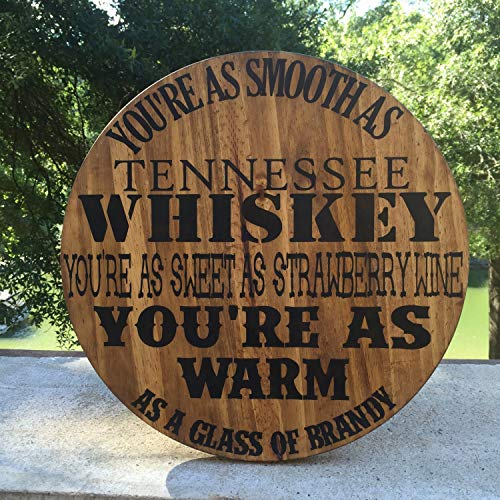 Yilooom Chris Stapleton Tennessee Whiskey Bar Sign,Rustic Bar Sign,Country Music Lyrics,Strawberry Wine,Nashville Sign,Mancave Sign - 8x8 Inches
