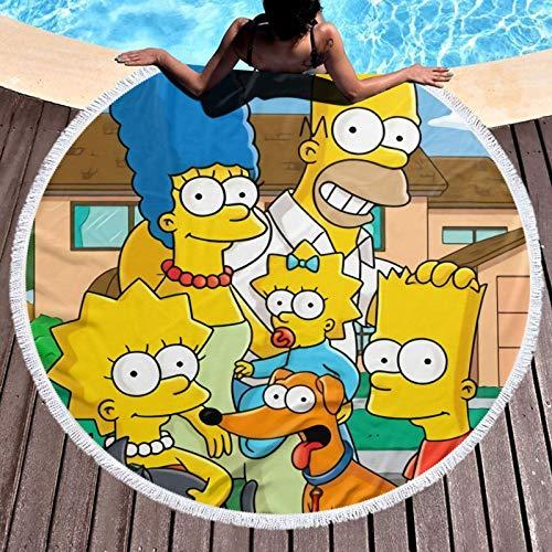 Sim_pson - Toalla de playa redonda con borlas de microfibra suave para verano, natación, pícnic