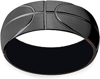 Stainless Steel Sand Blasted Band Ring, Black Silver Sporty Basketball Patteren Domed Design Men Women Cool Streetwear Par...