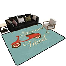 Custom Pattern Floor mat,Summer Travel Scooter Vacation Vespa Classic Wheels Rock Cool Cycle Hippy Motorbike Design 6'x8',Can be Used for Floor Decoration