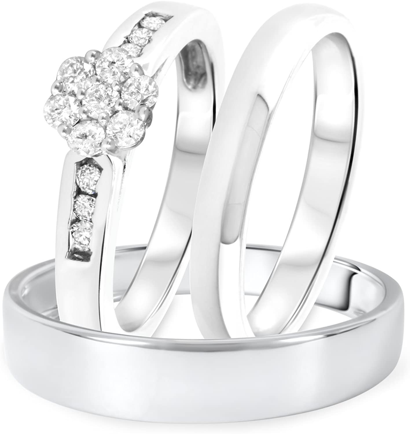 3djewels 14K White gold Over Men's & Women's Engagement Trio Ring Set 1 Ct D VVS1 Diamond