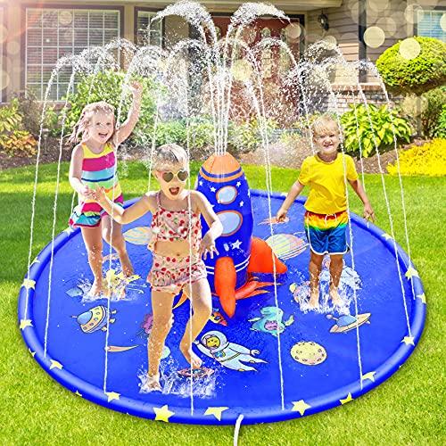 ロケット噴水マットプールアウトドア用子供家庭用噴水池夏の日水遊び親子遊び誕生日プレゼント芝生遊び夏対策 簡単収納 砂浜おもちゃ