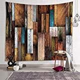 Sevendec Vintage Planks Tapestry Wall Hanging Vertical Striped Wooden Board Wall Tapestry for Livingroom Bedroom Dorm Home Decor Brown and Grey W90 x L71