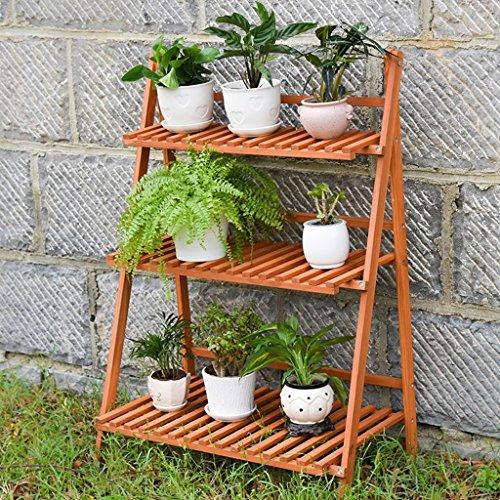 3 niveaux en bois pliable fleurs Stand jardin Patio permanent plante fleur pot Rack décoratif présentoir support fleur Pot étagère - intérieur/extérieur - couleur bois - L70 * D40 * H97cm