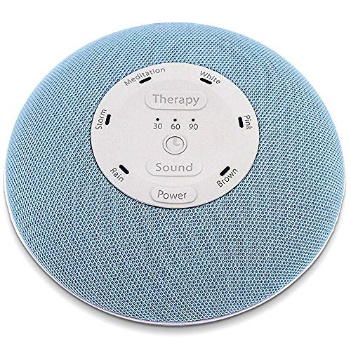 HoMedics Deep Sleep Mini Portable Sleep Sound Machine | 3 Programs, 3 White Noises, 2 Sounds, Guided Meditation, Auto-Off Timer, Rechargeable Battery, Blue