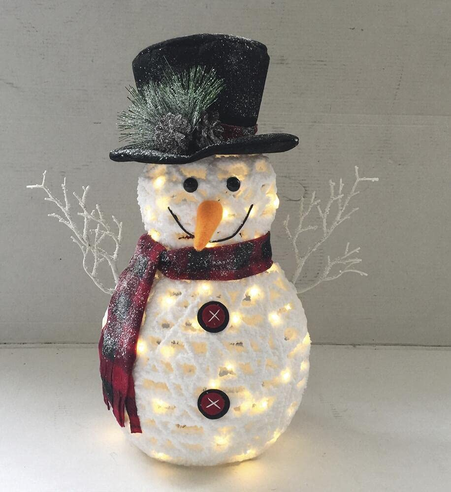 Battery Limited time trial price Great interest Operated Lighted Snowman Decoration Sculpture Scarf with