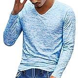 Yvelands Handsome T-Shirt Hombres Personalidad de Moda con Cuello en V Casual Slim Solid Top Manga Corta Blusa Chaqueta Outwear Summer, Cheap Clearance! (Azul, XL)