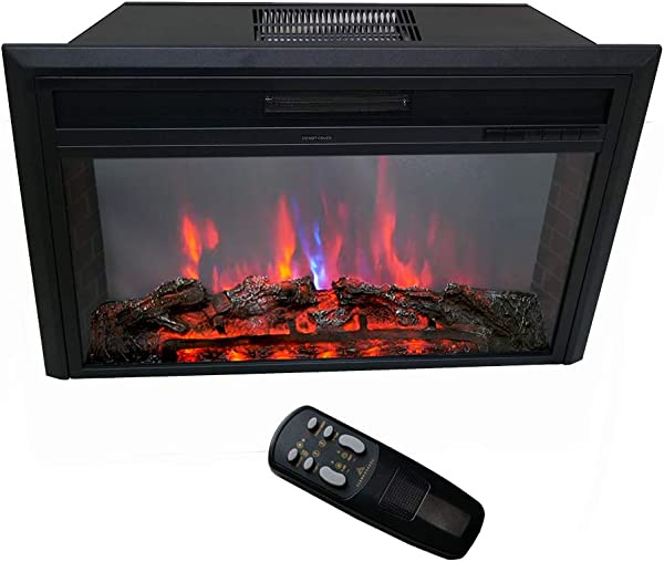 FLAME SHADE Electric Fireplace Insert Freestanding Or Recessed Embedded Stove Heater With Remote And Thermostat 750 1500w Black 30
