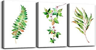 Green Leaf Canvas Wall Art for Living Room 3 Piece Wall Paintings Bathroom Wall Decor for Bedroom Kitchen Works of Art Canvas Prints Plants Flowers Watercolor Painting Modern Home Decoration Artwork