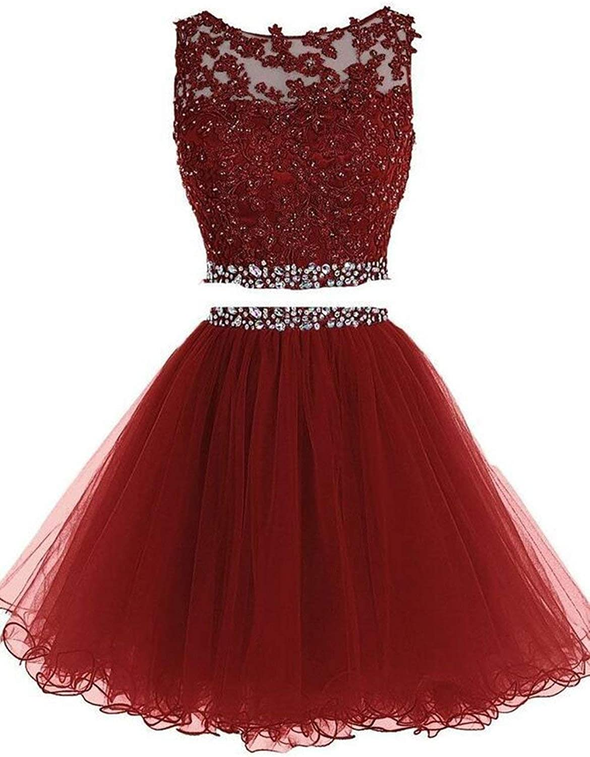 Clothfun Women's Short Beaded 2 Piece Homecoming Dresses Tulle Prom Dress Cocktail Party Gown 042