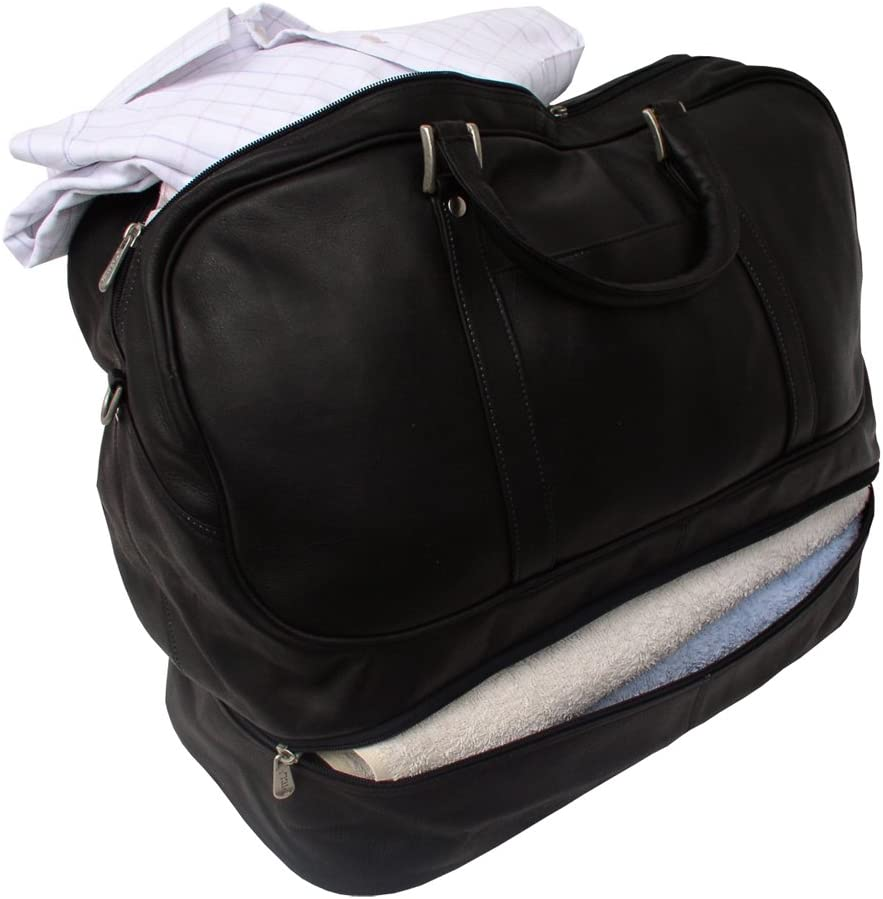 Black One Size Piel Leather False-Bottom Sports Bag