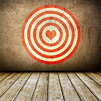 Qinunipoto 背景布 撮影用 背景 プロスタジオ背景 撮影スタジオ 撮影背景布 バレンタインデー撮影背景 ハート形 サークル 木の床 写真を撮る恋人 自宅用 誕生日 バックドロップ写真撮影用 ビニール 2.1m x 2.1m