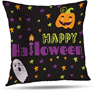 Alricc Halloween Banners Stickers and with Cartoon Cute Pumpkins Bats Stars Decorative Throw Pillows Cushion Cover for Bedroom Sofa Living Room 18X18 Inches