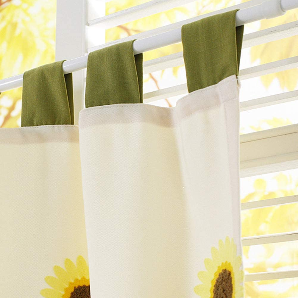 Buy Qucover Cafe Kitchen Curtains Embroidery Sunflowers Design Small Kitchen Window Curtain Beige Color Home Decoration Handmade Cotton Linen Short Curtain 30 Drop Online In Kuwait B07pw6pw73