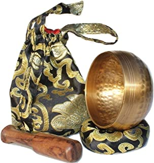 Andos Tibetan Singing Bowl Set Handcrafted in Nepal/Meditation Sound Bowl Set Golden Helpful for Yoga Meditation Prayer Ze...
