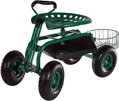 lowest Sunnydaze Garden Cart Rolling Scooter with Extendable popular Steer online Handle, Swivel Seat & Utility Tool Tray, Green online sale