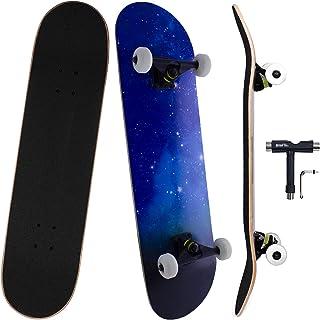سكيت بورد , خشب من 7 طبقات للمحترفين والمبتدئين ، لوح تزلج للأولاد والبنات البالغين والاطفال (80 سم * 20 سم)