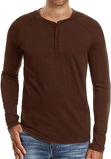 36a78d8bf8689 Cyiozlir Homme T-Shirt Manches Longues Shirt Manche Courte Tee Shirt Col  Tunisien Uni Henley
