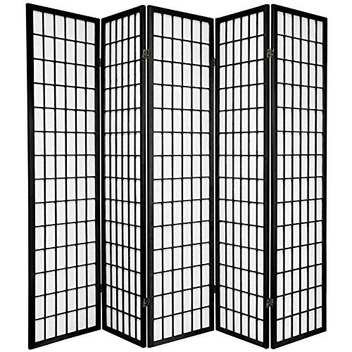Oriental Furniture 6 ft. Tall Window Pane Shoji Screen - Black - 5 Panels