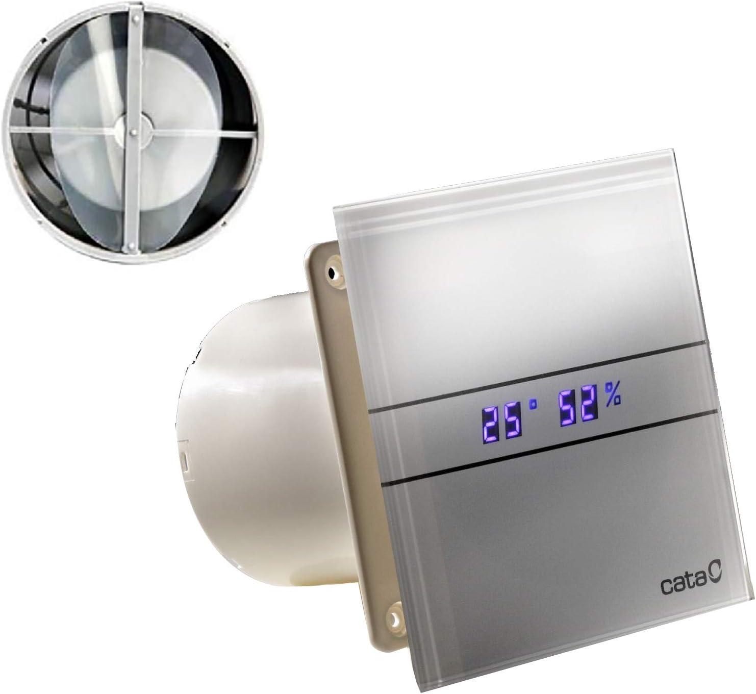 CATA E-100 GTH - Ventilador con válvula antirretorno (temporizador, control de humedad, sensor de humedad, pantalla LED, 115 m3/h, muy silencioso, 31 dB, bajo consumo, 8 W)