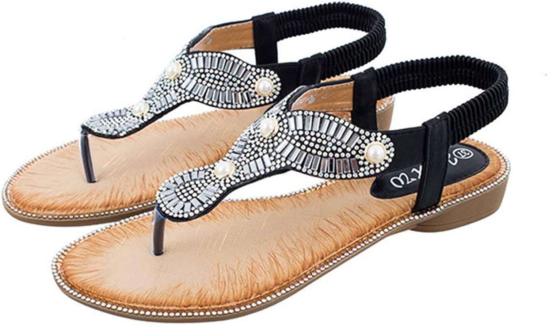 Mobnau Women's Jeweled Thong Beaded Beach Sandals Flat Sandles