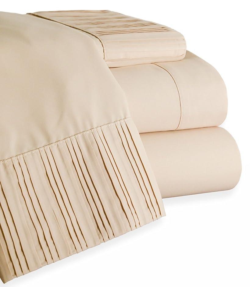 抜け目がない市の中心部生きているベッドBathコンセント最高品質プリーツ1800シリーズ4?Piece環境に優しい竹ベッドシート低刺激性、防しわ性 フル ベージュ