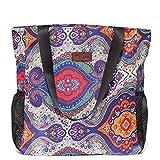 Original Floral Water Resistant Large Tote Bag Shoulder Bag for Gym Beach Travel Daily Bags Upgraded ([I] Pattern)