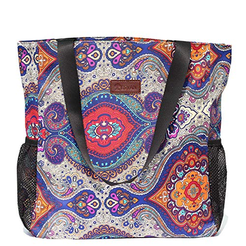 Original Floral Water Resistant Large Tote Bag Shoulder Bag for Gym Beach Travel Daily Bags Upgraded ([I] Pattern)