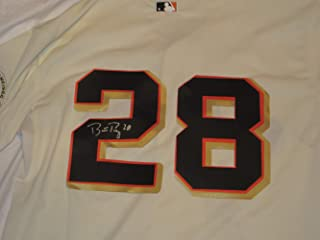 Buster Posey Signed San Francisco Giants Cream Jersey W/PROOF, Picture of Buster Signing For Us, San Francisco Giants, 2010, 2012, 2014 World Series Champion, Golden Spikes Award