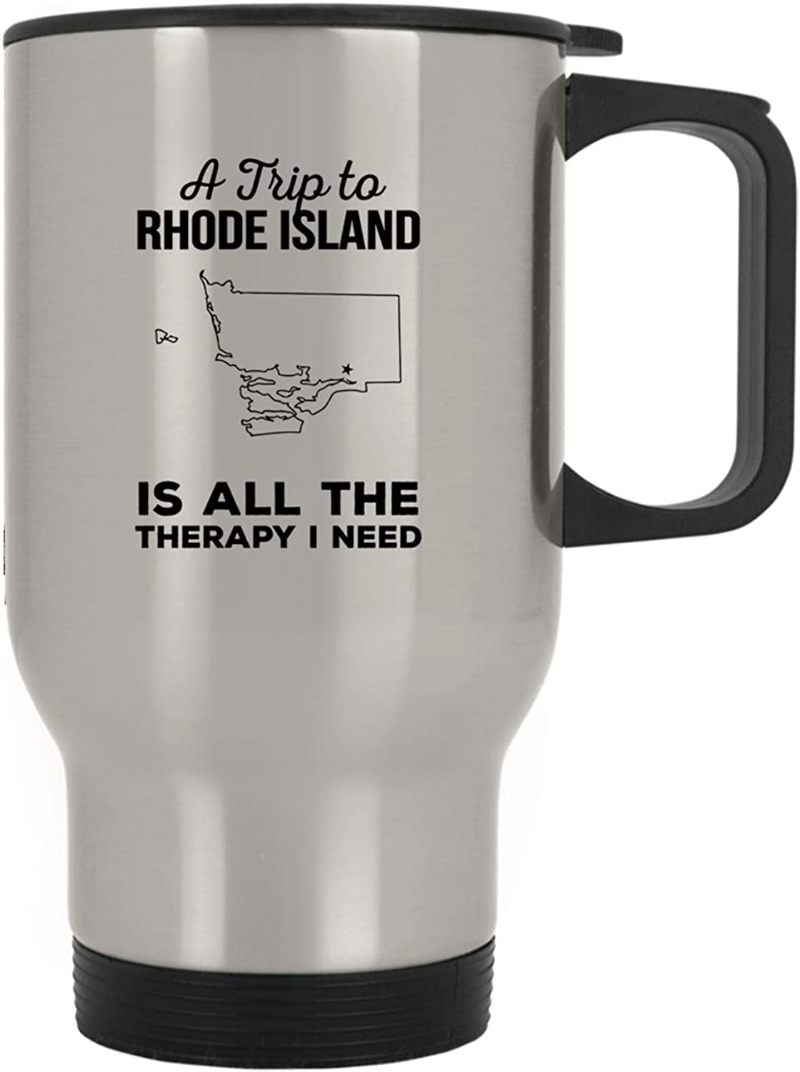 A Trip to Rhode Island is All The Therapy  America States Flag Funny Gifts Travel Mug