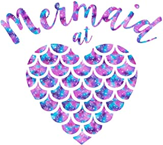 Pattern Mermaid at Heart Decal Sticker | Mermaid Quote Vinyl Decal for Yeti Tumbler, RTIC Cup, Laptop, Car Window Accessories for Women | Purple, Pink, and Blue - 3.5 inches