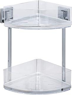 WENKO Vacuum-Loc® 2-tier corner rack Quadro, Stainless steel, 28 x 32.5 x 19.5 cm, Shiny