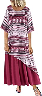 YYLZA Clothes Women Boho Stripe Print O Neck Loose Dress Vintage Casual Summer Maxi Dress