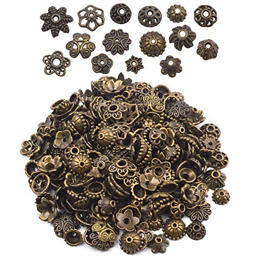 BronaGrand 100 Gram(About 150-250pcs) Bali Style Jewelry Making Metal Bead Caps Deluxe New Mix,Bronze