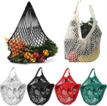 Kaniem Premium Shopping Bags Mesh Reusable Net Bags Durable Shopping Grocery Tote Short Handles (Free, Black)