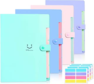 Skydue 4 Packs Expanding File Folder with 32 Labels,5 Pockets A4 Letter Size Accordion Folder Paper Organizer for School a...