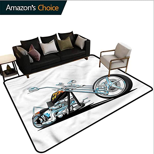 TableCoversHome Manly Floral Door Mat American Motorcycle Sport Pattern Printing Carpet Durable Rugs Living Dinning Office Rooms Bedrrom Hallway Carpet 6 X 9