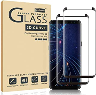 LasGame Glass Screen Protector for Samsung Galaxy S9,[2 Pack] 3D Curved Tempered Glass, Dot Matrix with Easy Installation Tray, Case Friendly