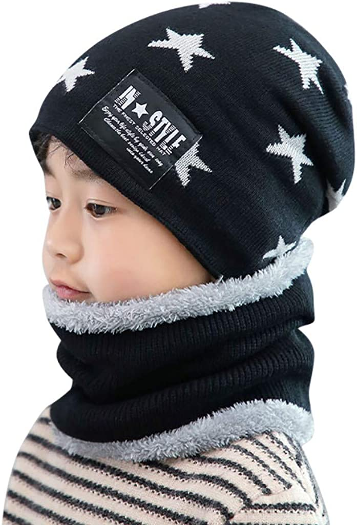 Kids Trendy Knitted Beanie Large special Max 46% OFF price Hat with Scarf for Skull Caps Th